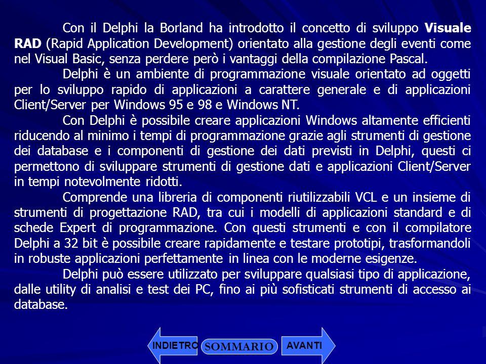 Con il Delphi la Borland ha introdotto il concetto di sviluppo Visuale RAD (Rapid Application Development) orientato alla gestione degli eventi come n
