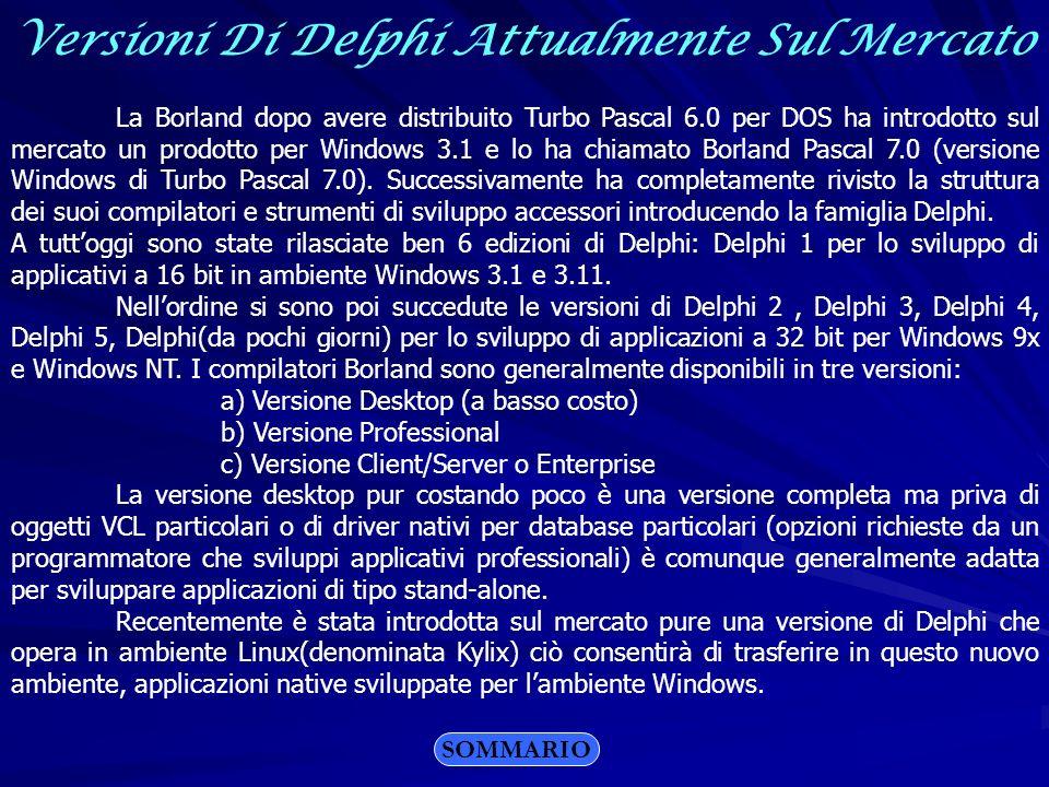 Versioni Di Delphi Attualmente Sul Mercato La Borland dopo avere distribuito Turbo Pascal 6.0 per DOS ha introdotto sul mercato un prodotto per Window