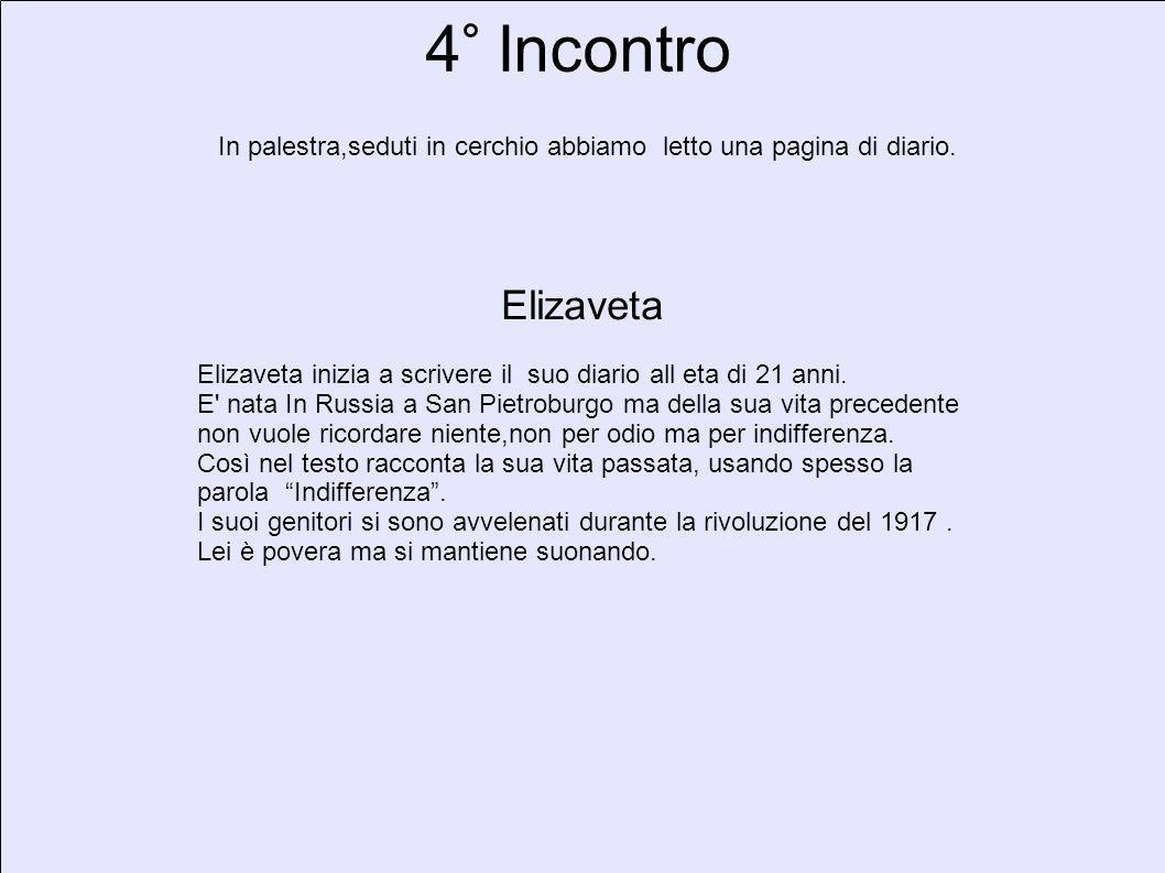 4° Incontro In palestra,seduti in cerchio abbiamo letto una pagina di diario. Elizaveta Elizaveta inizia a scrivere il suo diario all eta di 21 anni.