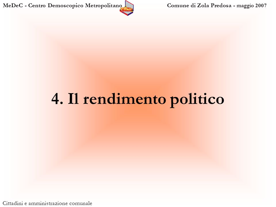 MeDeC - Centro Demoscopico Metropolitano Comune di Zola Predosa - maggio 2007 Cittadini e amministrazione comunale 4.