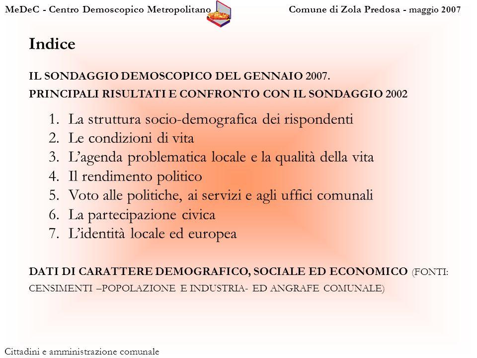 MeDeC - Centro Demoscopico Metropolitano Comune di Zola Predosa - maggio 2007 Cittadini e amministrazione comunale Indice IL SONDAGGIO DEMOSCOPICO DEL GENNAIO 2007.