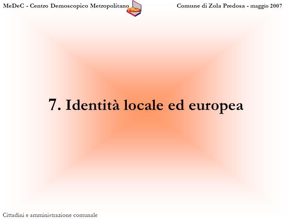 MeDeC - Centro Demoscopico Metropolitano Comune di Zola Predosa - maggio 2007 Cittadini e amministrazione comunale 7.