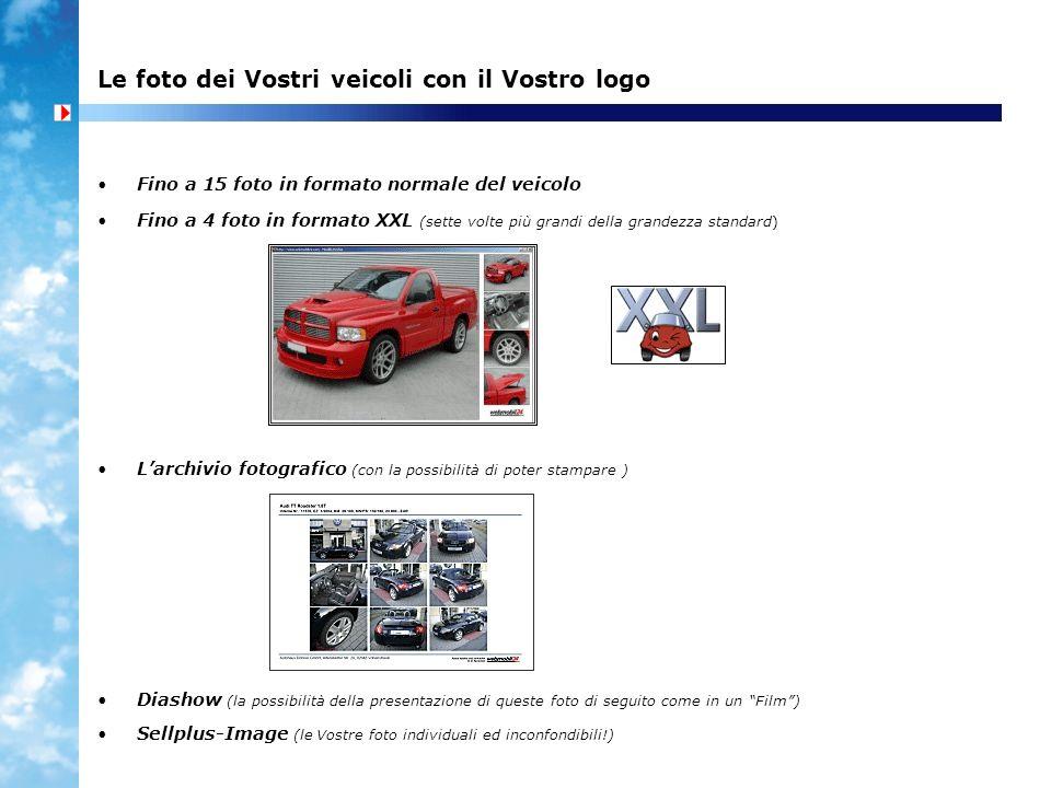 Le foto dei Vostri veicoli con il Vostro logo Fino a 15 foto in formato normale del veicolo Fino a 4 foto in formato XXL (sette volte più grandi della