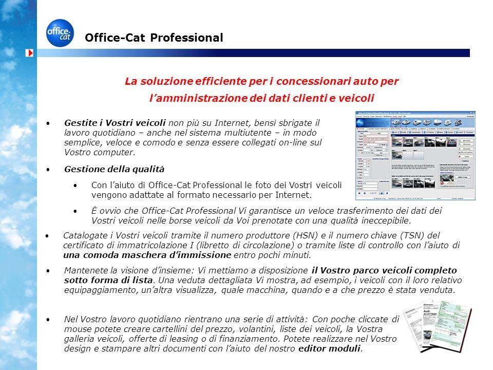 Office-Cat Professional La soluzione efficiente per i concessionari auto per lamministrazione dei dati clienti e veicoli Gestite i Vostri veicoli non