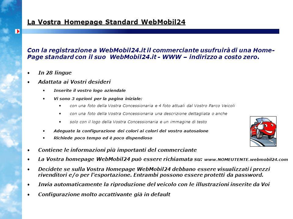 La Vostra Homepage Standard WebMobil24 In 28 lingue Adattata ai Vostri desideri Inserite il vostro logo aziendale Con la registrazione a WebMobil24.it il commerciante usufruirà di una Home- Page standard con il suo WebMobil24.it - WWW – indirizzo a costo zero.