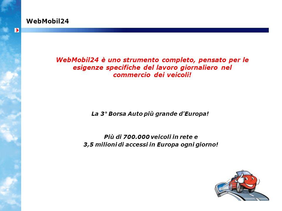 WebMobil24 WebMobil24 è uno strumento completo, pensato per le esigenze specifiche del lavoro giornaliero nel commercio dei veicoli.