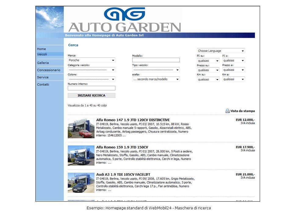 Esempio: Homepage standard di WebMobil24 - Maschera di ricerca
