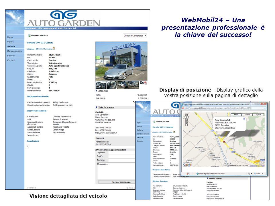 Visione dettagliata del veicolo WebMobil24 – Una presentazione professionale è la chiave del successo! Display di posizione – Display grafico della vo