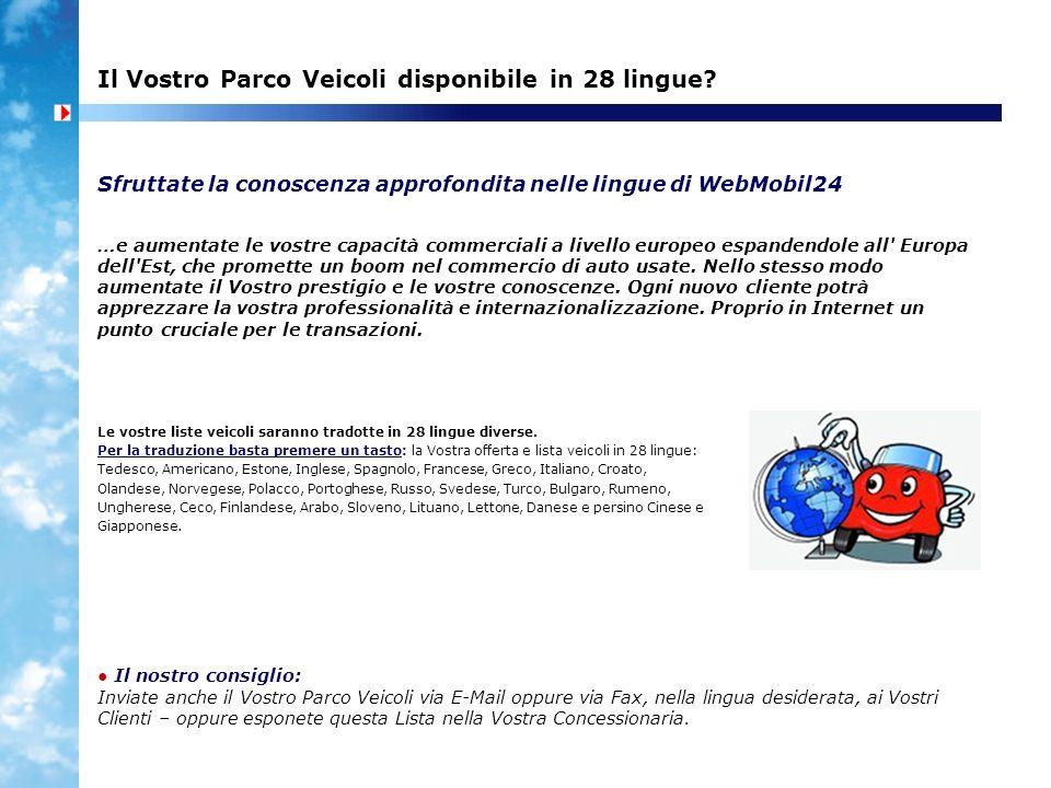 Il Vostro Parco Veicoli disponibile in 28 lingue? Sfruttate la conoscenza approfondita nelle lingue di WebMobil24 Le vostre liste veicoli saranno trad