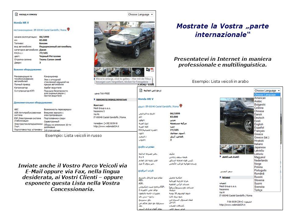 Esempio: Lista veicoli in russo Esempio: Lista veicoli in arabo Mostrate la Vostra parte internazionale Inviate anche il Vostro Parco Veicoli via E-Ma