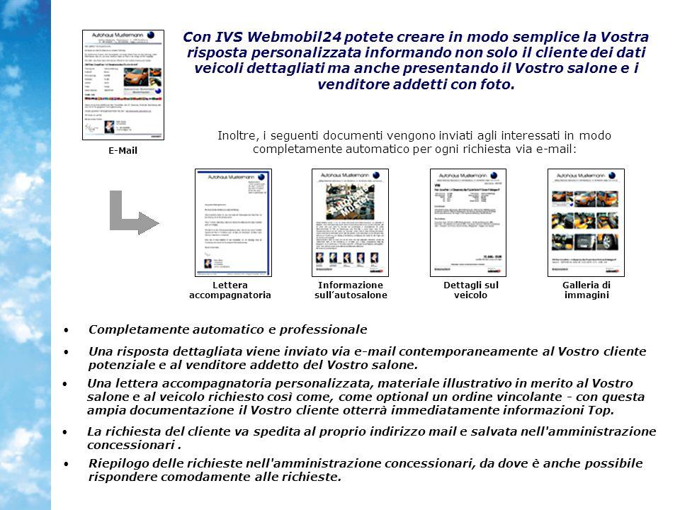 Inoltre, i seguenti documenti vengono inviati agli interessati in modo completamente automatico per ogni richiesta via e-mail: Con IVS Webmobil24 pote