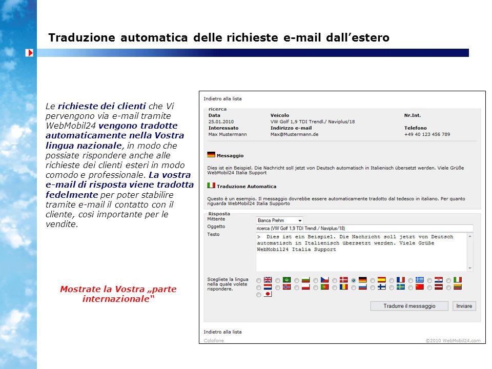 Traduzione automatica delle richieste e-mail dallestero Le richieste dei clienti che Vi pervengono via e-mail tramite WebMobil24 vengono tradotte auto