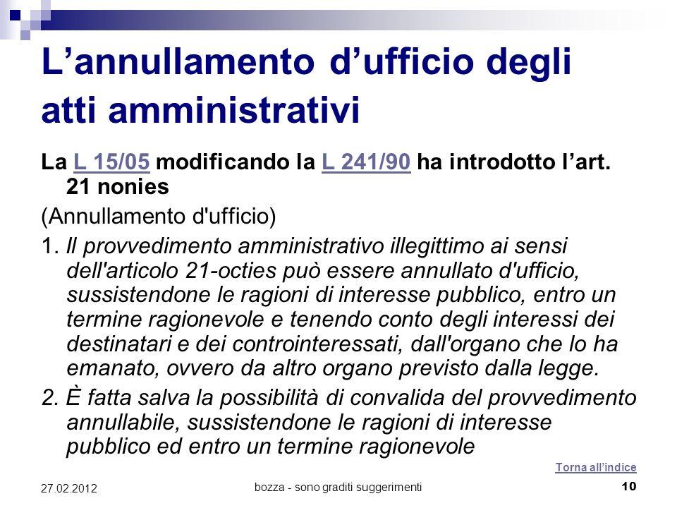 bozza - sono graditi suggerimenti10 27.02.2012 Lannullamento dufficio degli atti amministrativi La L 15/05 modificando la L 241/90 ha introdotto lart.