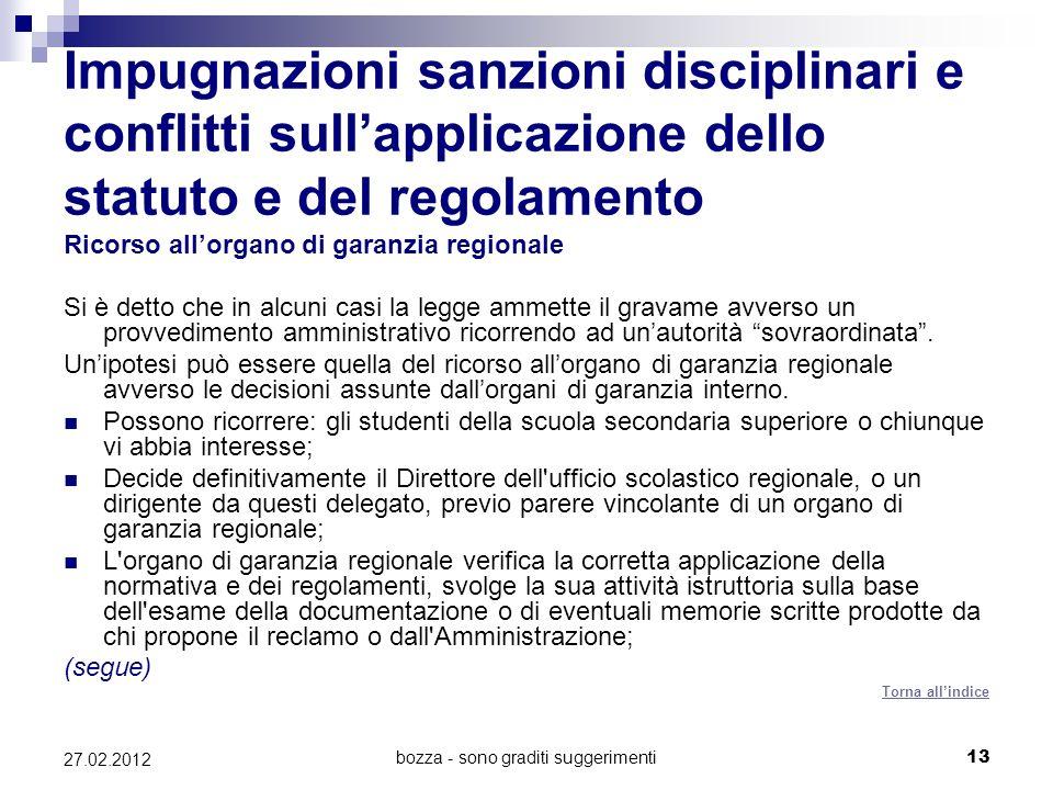 bozza - sono graditi suggerimenti13 27.02.2012 Impugnazioni sanzioni disciplinari e conflitti sullapplicazione dello statuto e del regolamento Ricorso