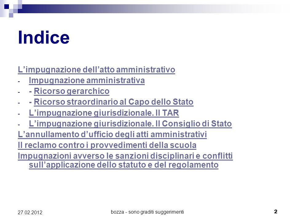 bozza - sono graditi suggerimenti2 27.02.2012 Indice Limpugnazione dellatto amministrativo - Impugnazione amministrativa Impugnazione amministrativa -