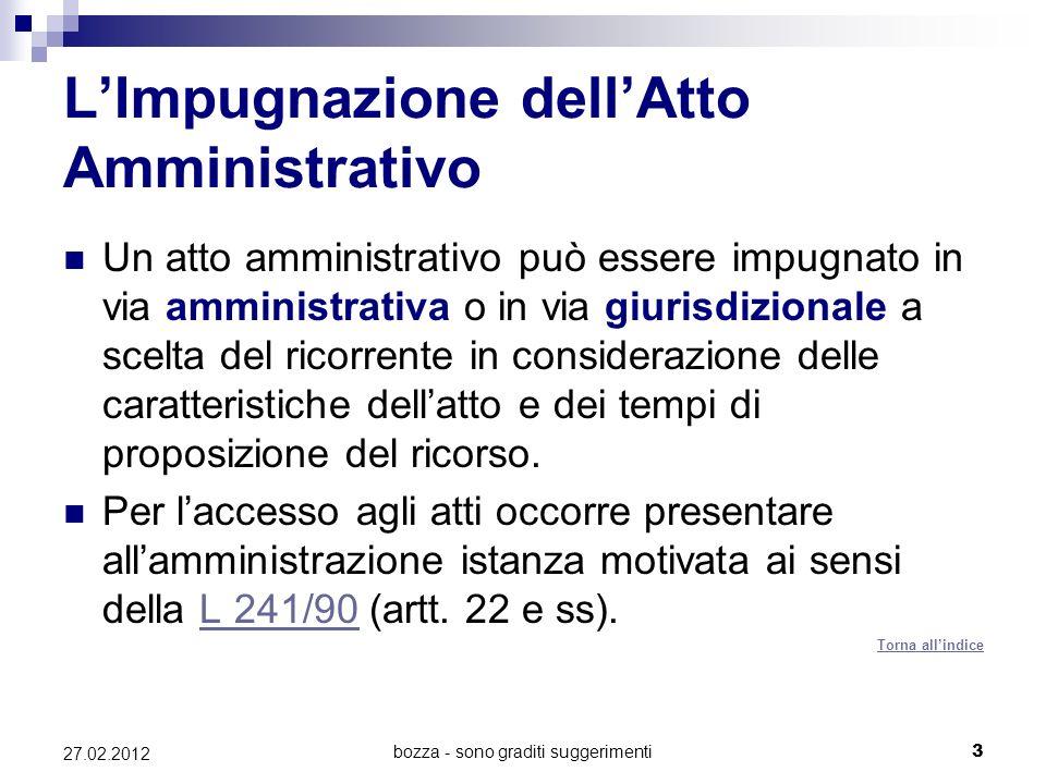 bozza - sono graditi suggerimenti3 27.02.2012 LImpugnazione dellAtto Amministrativo Un atto amministrativo può essere impugnato in via amministrativa