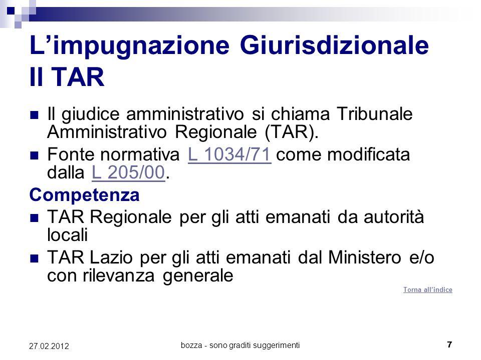 bozza - sono graditi suggerimenti7 27.02.2012 Limpugnazione Giurisdizionale Il TAR Il giudice amministrativo si chiama Tribunale Amministrativo Regionale (TAR).