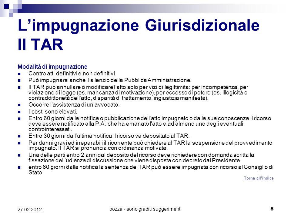 bozza - sono graditi suggerimenti8 27.02.2012 Limpugnazione Giurisdizionale Il TAR Modalità di impugnazione Contro atti definitivi e non definitivi Pu