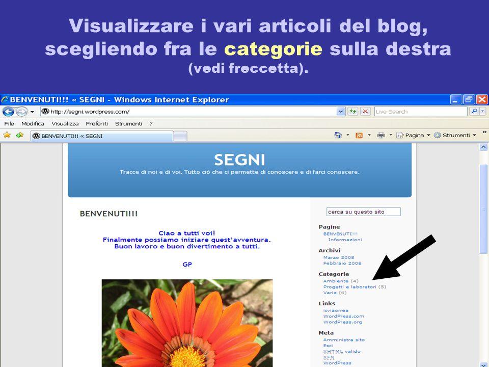 Visualizzare i vari articoli del blog, scegliendo fra le categorie sulla destra (vedi freccetta).