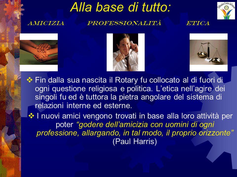 Alla base di tutto: amicizia professionalità etica Fin dalla sua nascita il Rotary fu collocato al di fuori di ogni questione religiosa e politica. Le