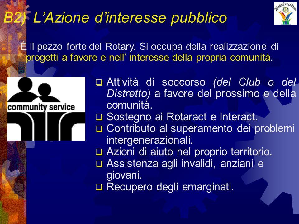 B2)LAzione dinteresse pubblico Attività di soccorso (del Club o del Distretto) a favore del prossimo e della comunità.