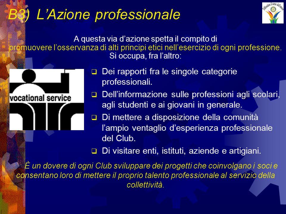 B3)LAzione professionale Dei rapporti fra le singole categorie professionali. Dellinformazione sulle professioni agli scolari, agli studenti e ai giov