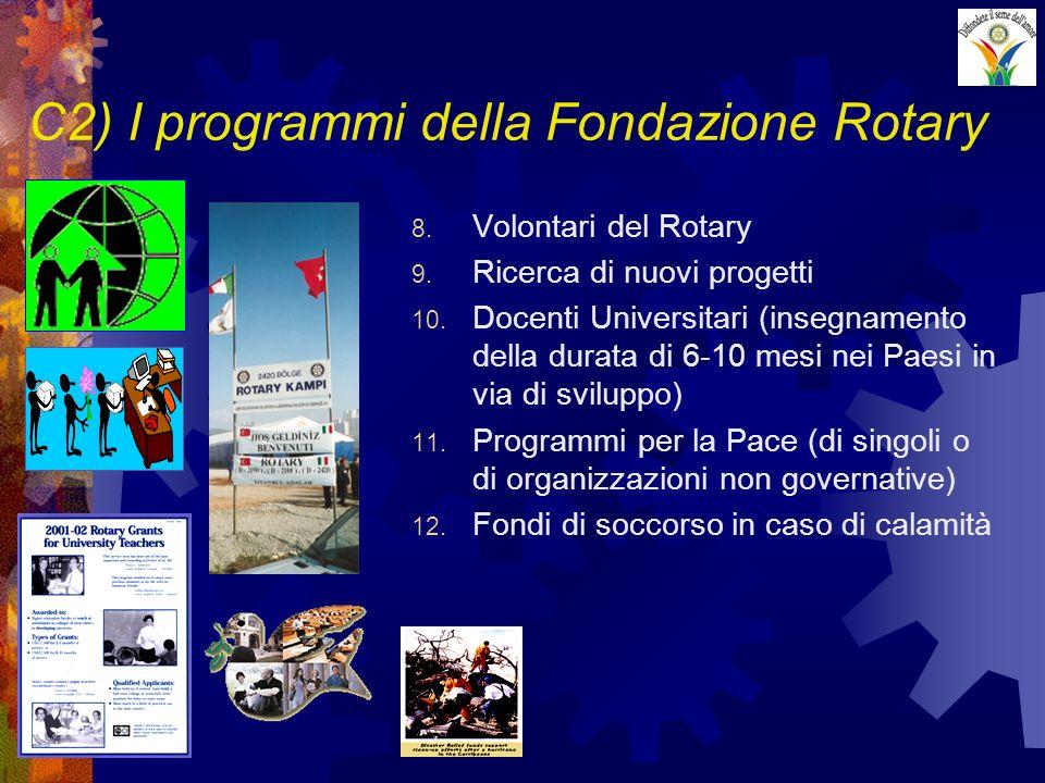 C2) I programmi della Fondazione Rotary 8. Volontari del Rotary 9. Ricerca di nuovi progetti 10. Docenti Universitari (insegnamento della durata di 6-