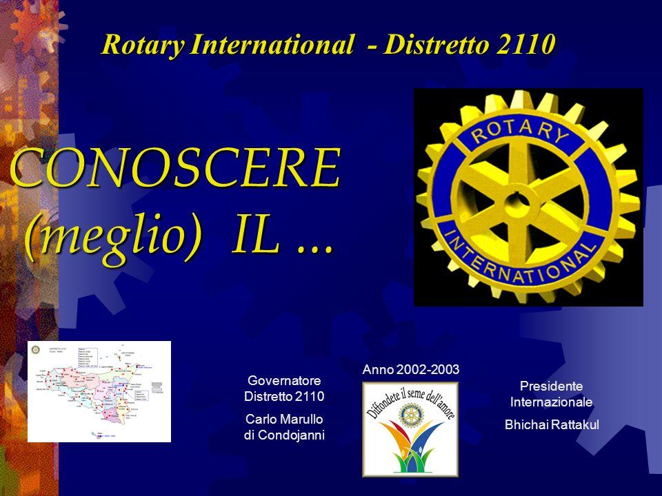 CONOSCERE (meglio) IL... Rotary International - Distretto 2110 Governatore Distretto 2110 Carlo Marullo di Condojanni Presidente Internazionale Bhicha