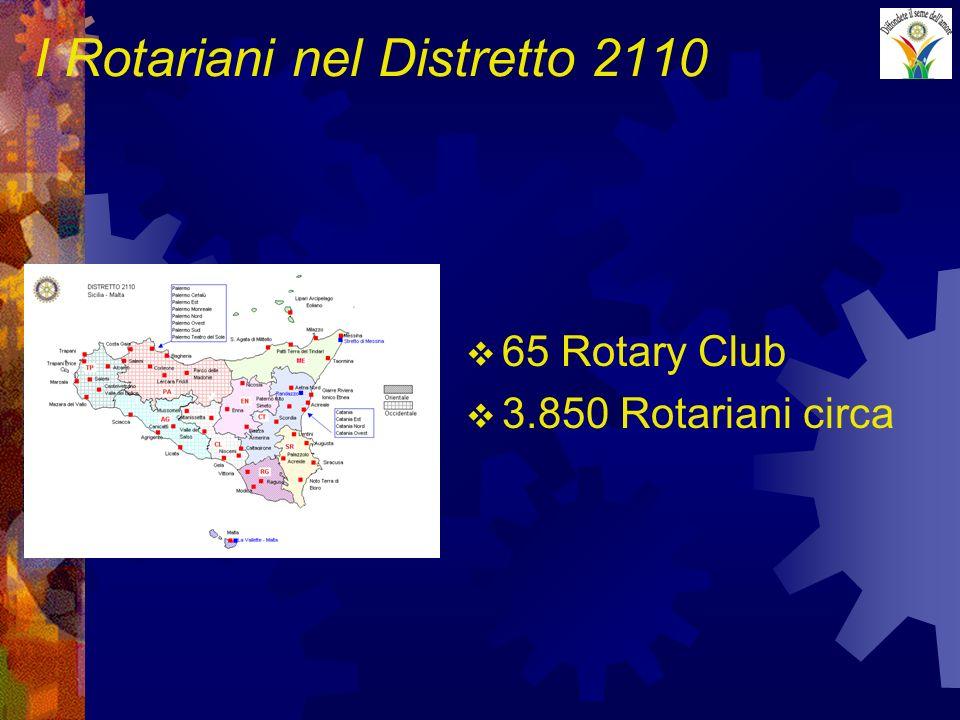 I Rotariani nel Distretto 2110 65 Rotary Club 3.850 Rotariani circa
