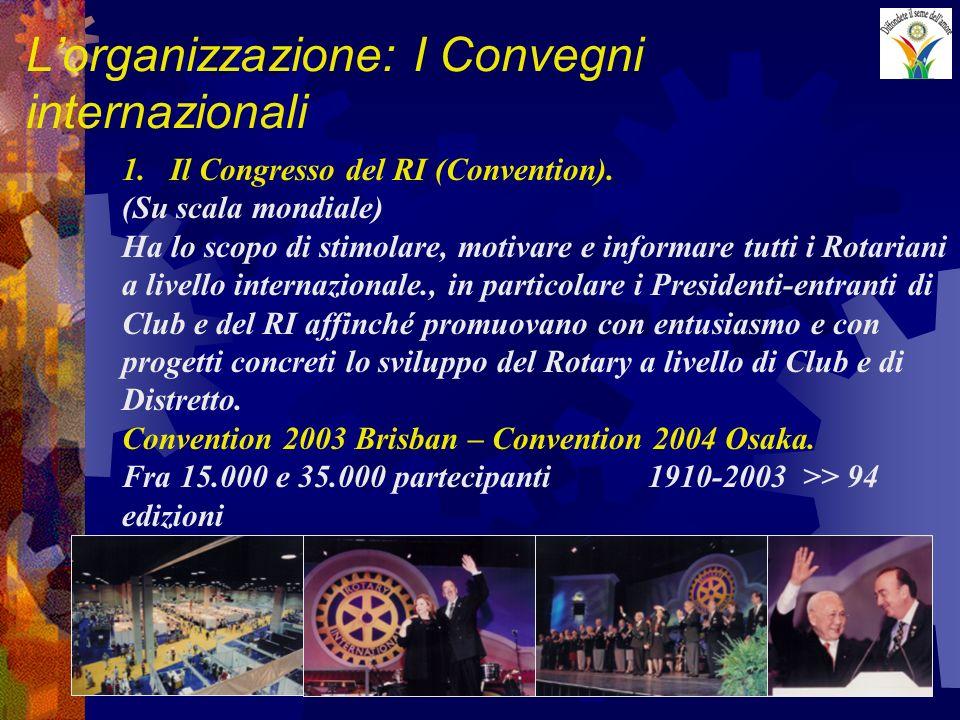 Lorganizzazione: I Convegni internazionali 1.Il Congresso del RI (Convention). (Su scala mondiale) Ha lo scopo di stimolare, motivare e informare tutt