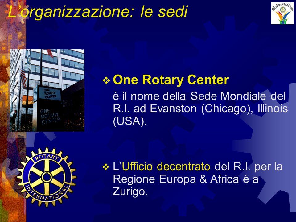 Lorganizzazione: le sedi One Rotary Center è il nome della Sede Mondiale del R.I. ad Evanston (Chicago), Illinois (USA). LUfficio decentrato del R.I.