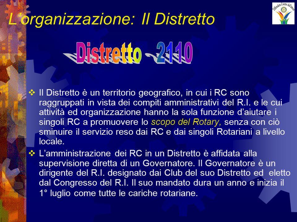 Lorganizzazione: Il Distretto Il Distretto è un territorio geografico, in cui i RC sono raggruppati in vista dei compiti amministrativi del R.I. e le