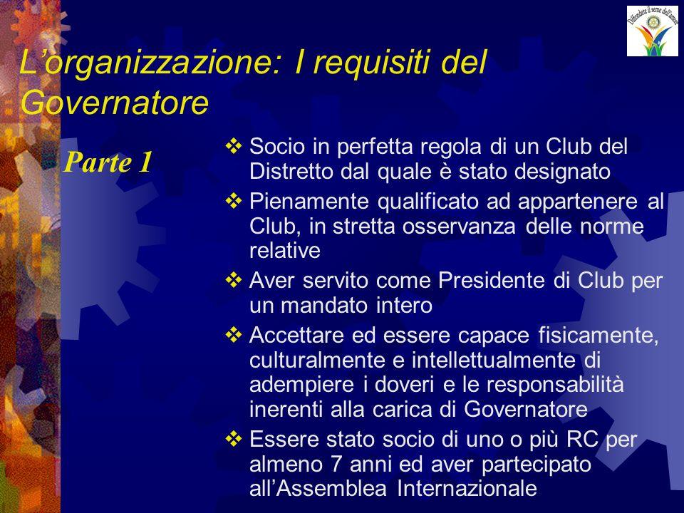 Lorganizzazione: I requisiti del Governatore Socio in perfetta regola di un Club del Distretto dal quale è stato designato Pienamente qualificato ad a
