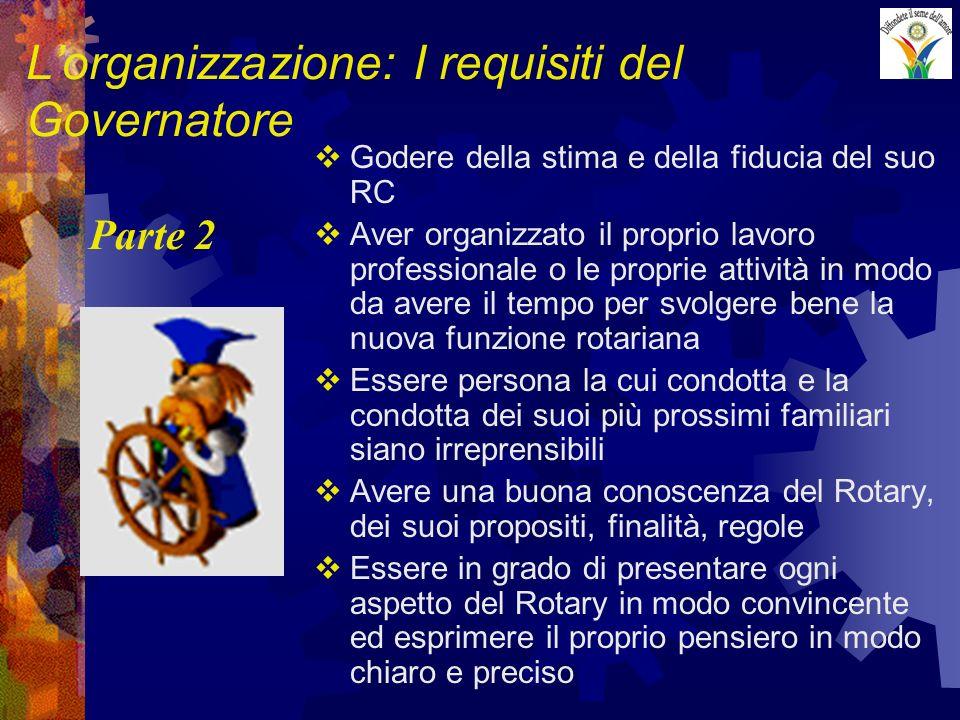 Lorganizzazione: I requisiti del Governatore Godere della stima e della fiducia del suo RC Aver organizzato il proprio lavoro professionale o le propr