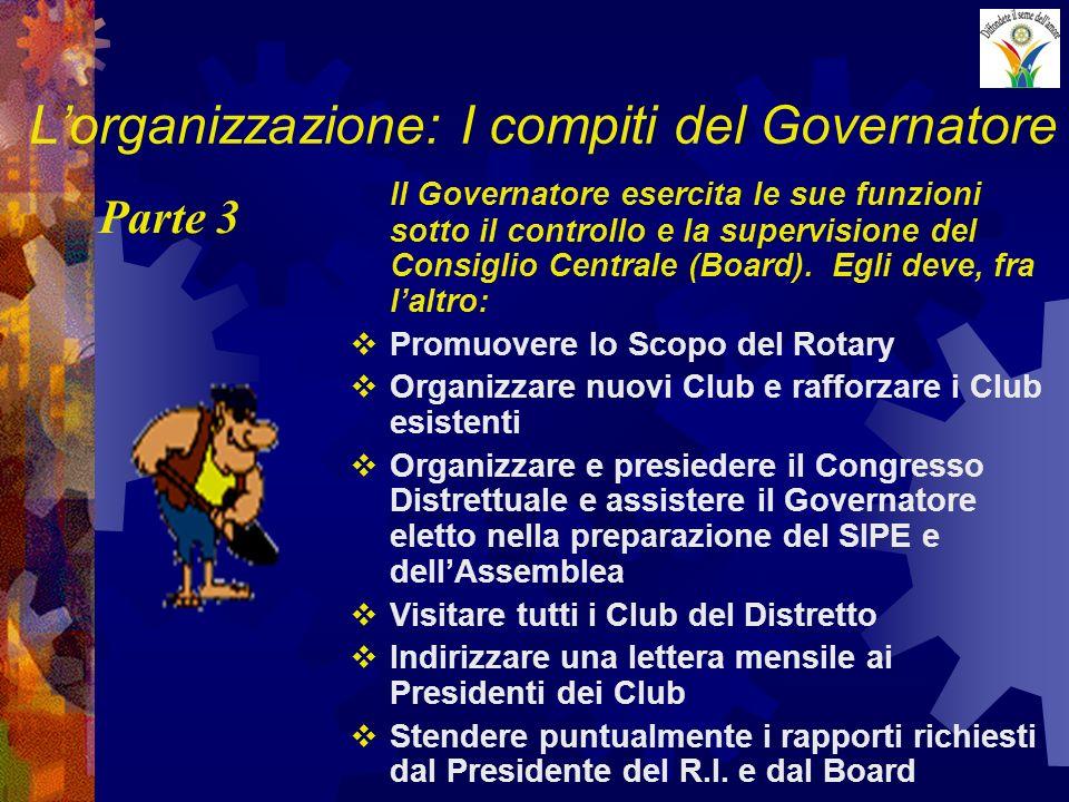 Lorganizzazione: I compiti del Governatore Il Governatore esercita le sue funzioni sotto il controllo e la supervisione del Consiglio Centrale (Board).