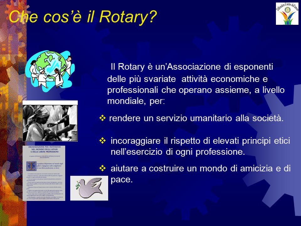 Che cosè il Rotary? Il Rotary è unAssociazione di esponenti delle più svariate attività economiche e professionali che operano assieme, a livello mond