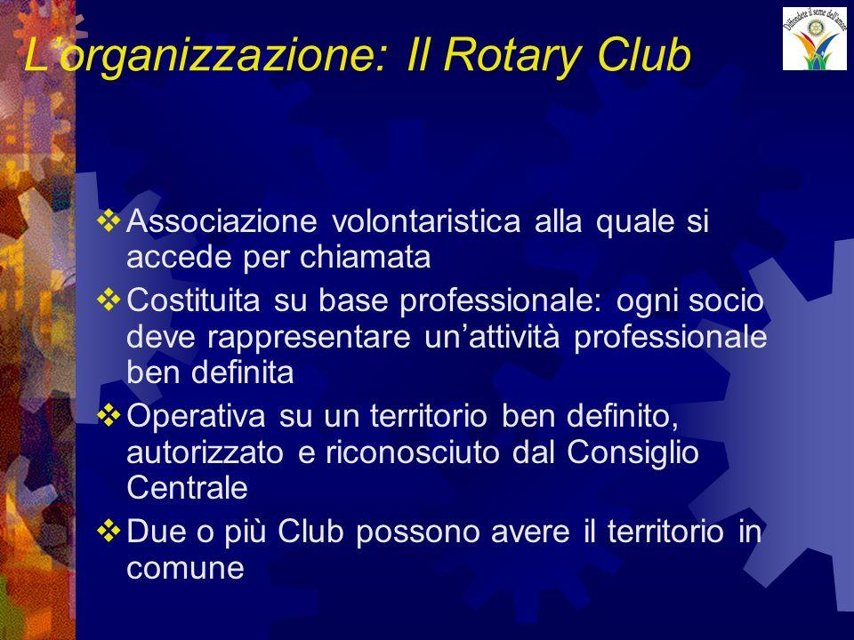 Lorganizzazione: Il Rotary Club Associazione volontaristica alla quale si accede per chiamata Costituita su base professionale: ogni socio deve rappresentare unattività professionale ben definita Operativa su un territorio ben definito, autorizzato e riconosciuto dal Consiglio Centrale Due o più Club possono avere il territorio in comune