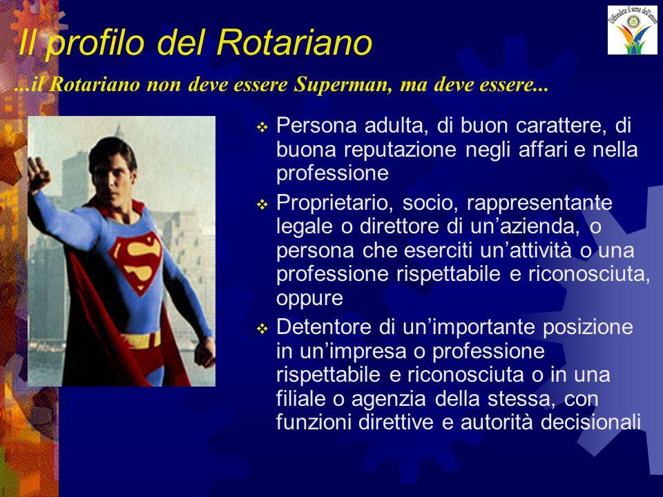 Il profilo del Rotariano Persona adulta, di buon carattere, di buona reputazione negli affari e nella professione Proprietario, socio, rappresentante legale o direttore di unazienda, o persona che eserciti unattività o una professione rispettabile e riconosciuta, oppure Detentore di unimportante posizione in unimpresa o professione rispettabile e riconosciuta o in una filiale o agenzia della stessa, con funzioni direttive e autorità decisionali...il Rotariano non deve essere Superman, ma deve essere...