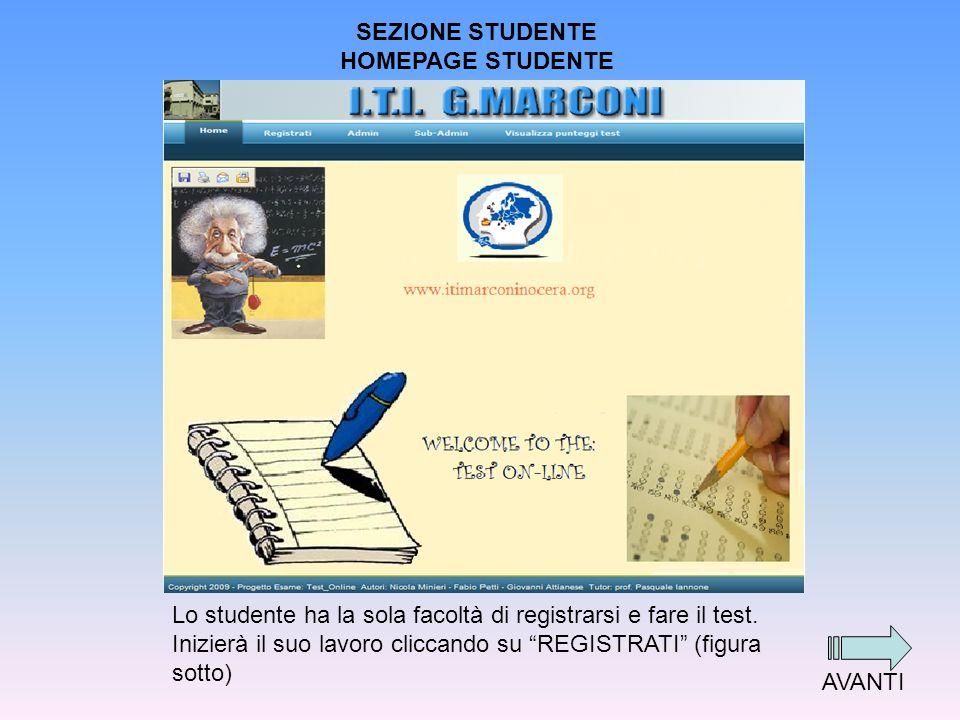 SEZIONE STUDENTE HOMEPAGE STUDENTE Lo studente ha la sola facoltà di registrarsi e fare il test.
