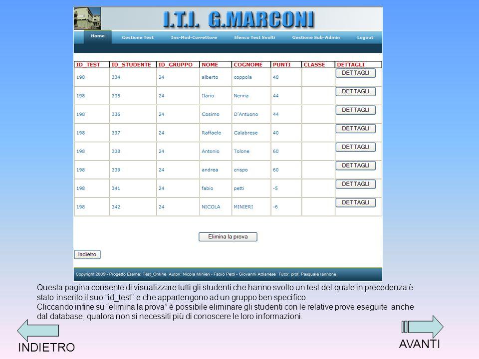 Questa pagina consente di visualizzare tutti gli studenti che hanno svolto un test del quale in precedenza è stato inserito il suo id_test e che appartengono ad un gruppo ben specifico.