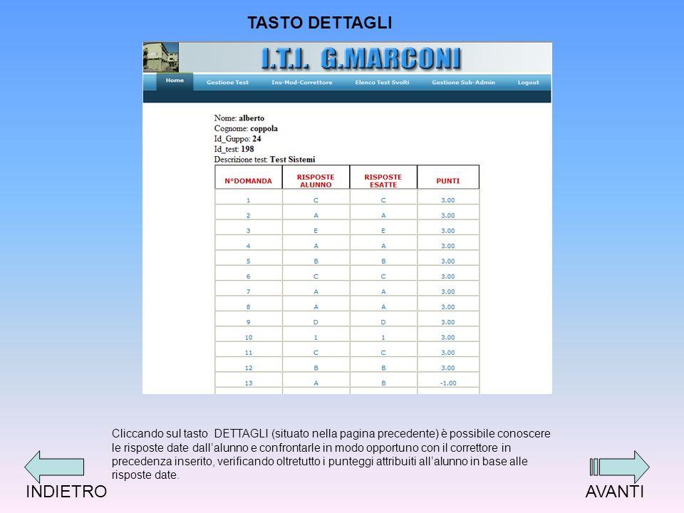 Cliccando sul tasto DETTAGLI (situato nella pagina precedente) è possibile conoscere le risposte date dallalunno e confrontarle in modo opportuno con il correttore in precedenza inserito, verificando oltretutto i punteggi attribuiti allalunno in base alle risposte date.