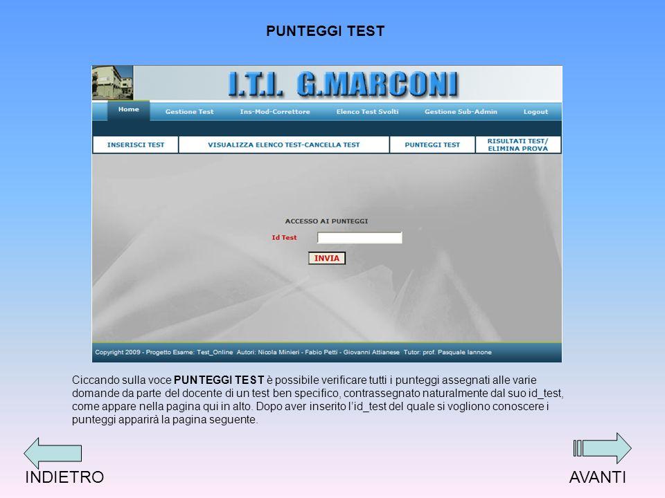 PUNTEGGI TEST Ciccando sulla voce PUNTEGGI TEST è possibile verificare tutti i punteggi assegnati alle varie domande da parte del docente di un test ben specifico, contrassegnato naturalmente dal suo id_test, come appare nella pagina qui in alto.