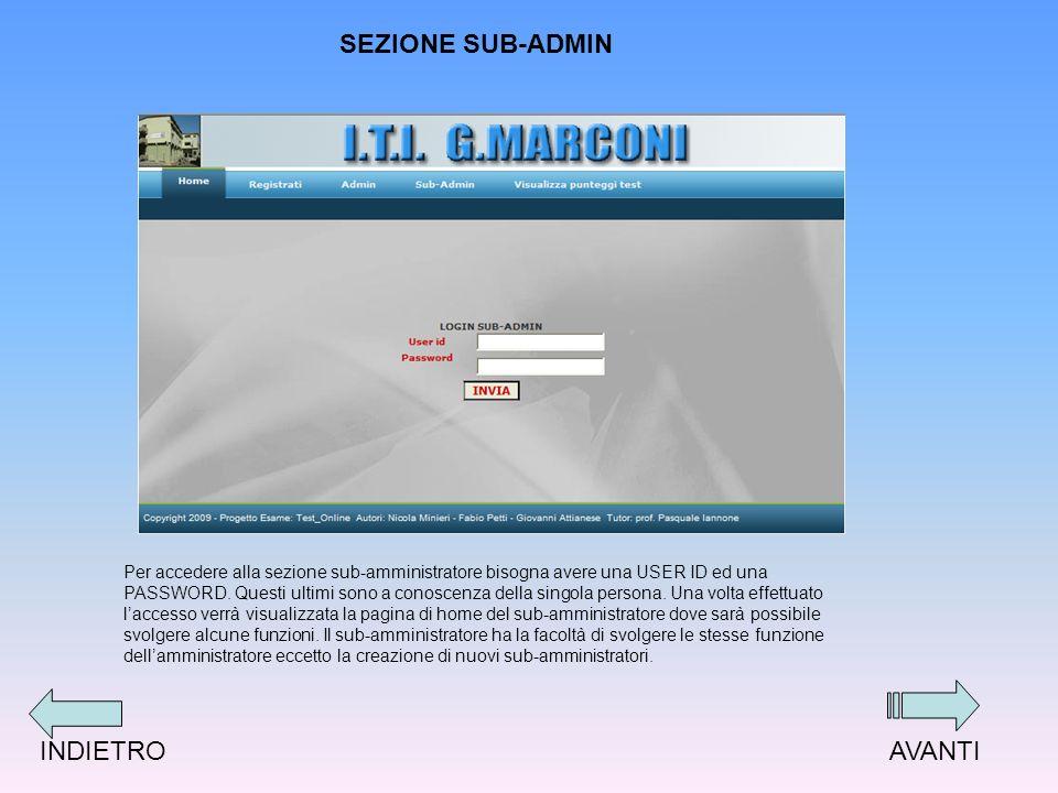 SEZIONE SUB-ADMIN Per accedere alla sezione sub-amministratore bisogna avere una USER ID ed una PASSWORD.