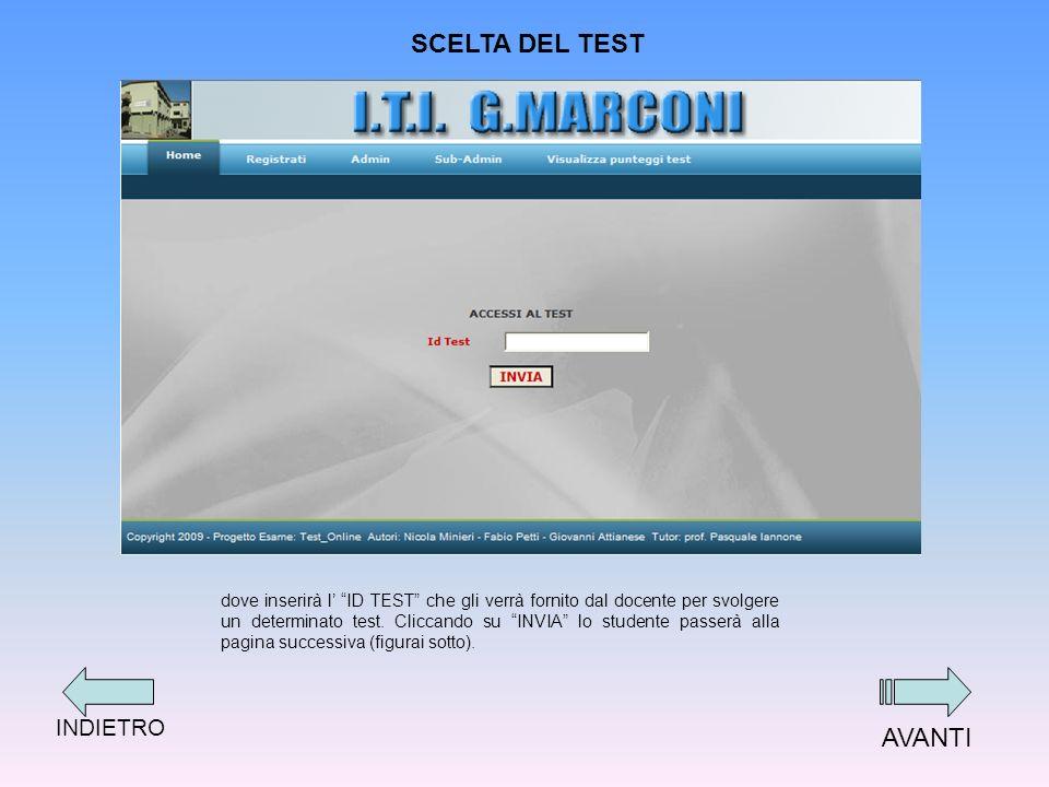 SCELTA DEL TEST dove inserirà l ID TEST che gli verrà fornito dal docente per svolgere un determinato test.