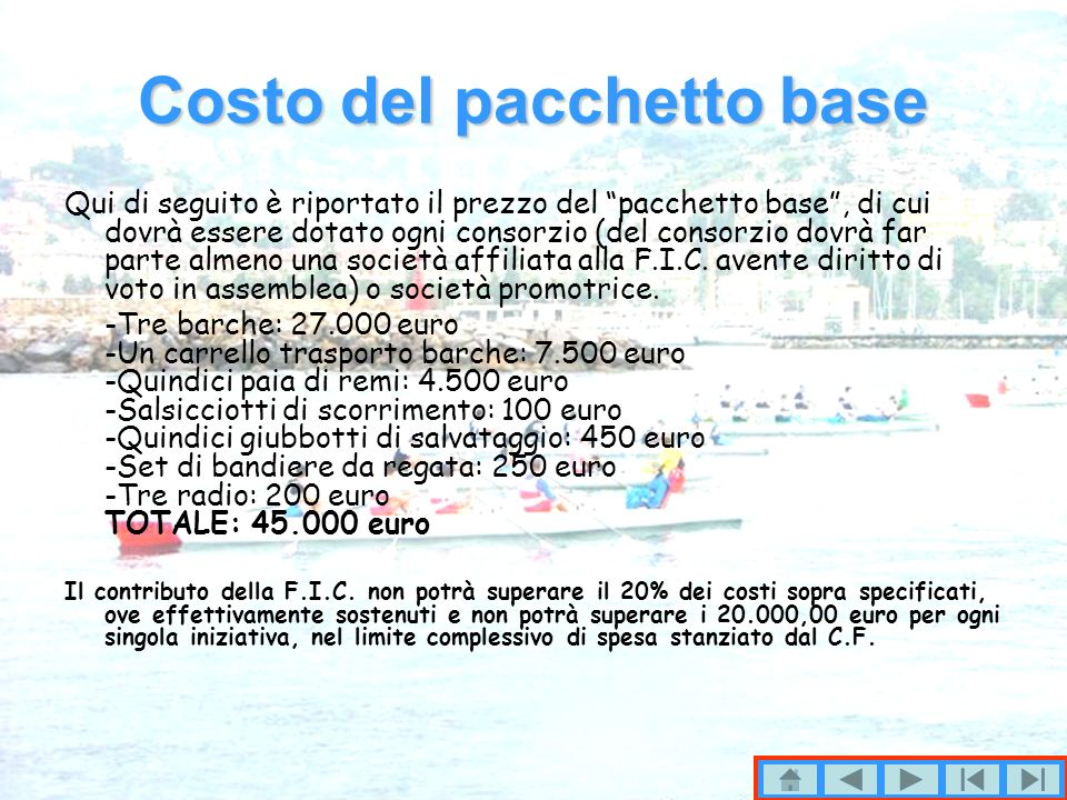 Costo del pacchetto base Qui di seguito è riportato il prezzo del pacchetto base, di cui dovrà essere dotato ogni consorzio (del consorzio dovrà far parte almeno una società affiliata alla F.I.C.