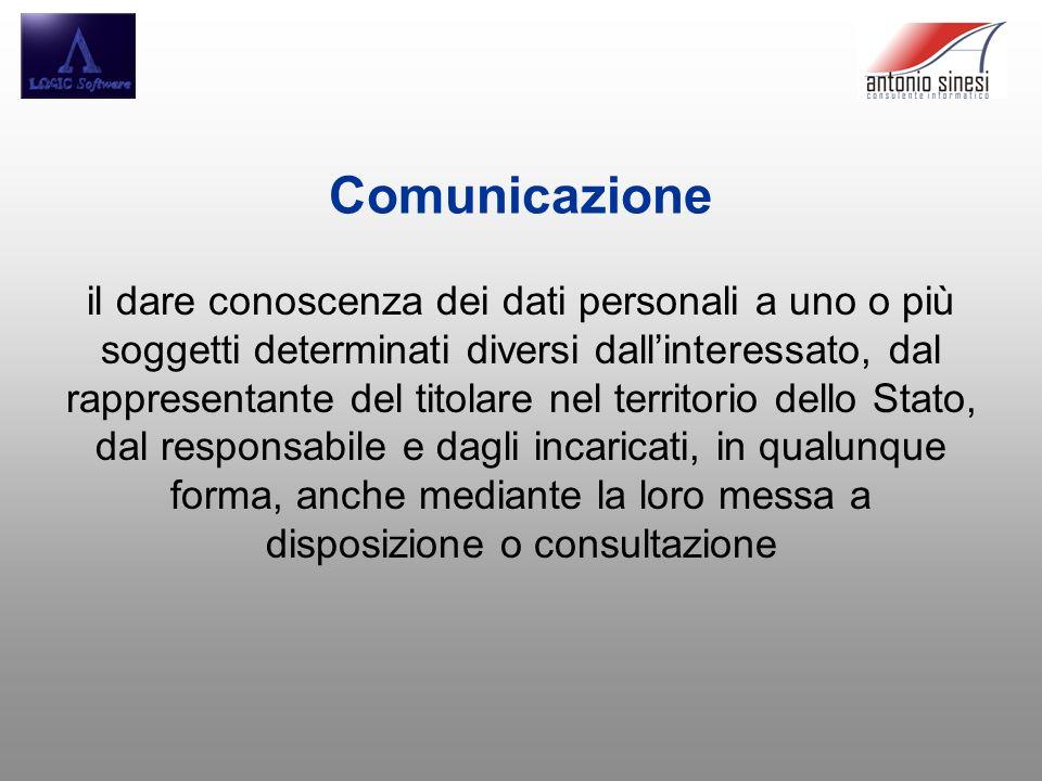 Comunicazione il dare conoscenza dei dati personali a uno o più soggetti determinati diversi dallinteressato, dal rappresentante del titolare nel terr