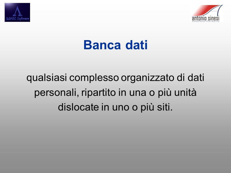 Banca dati qualsiasi complesso organizzato di dati personali, ripartito in una o più unità dislocate in uno o più siti.