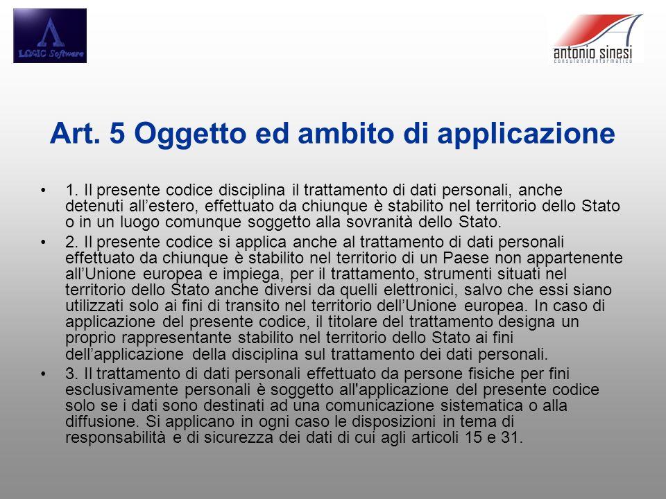 Art. 5 Oggetto ed ambito di applicazione 1. Il presente codice disciplina il trattamento di dati personali, anche detenuti allestero, effettuato da ch