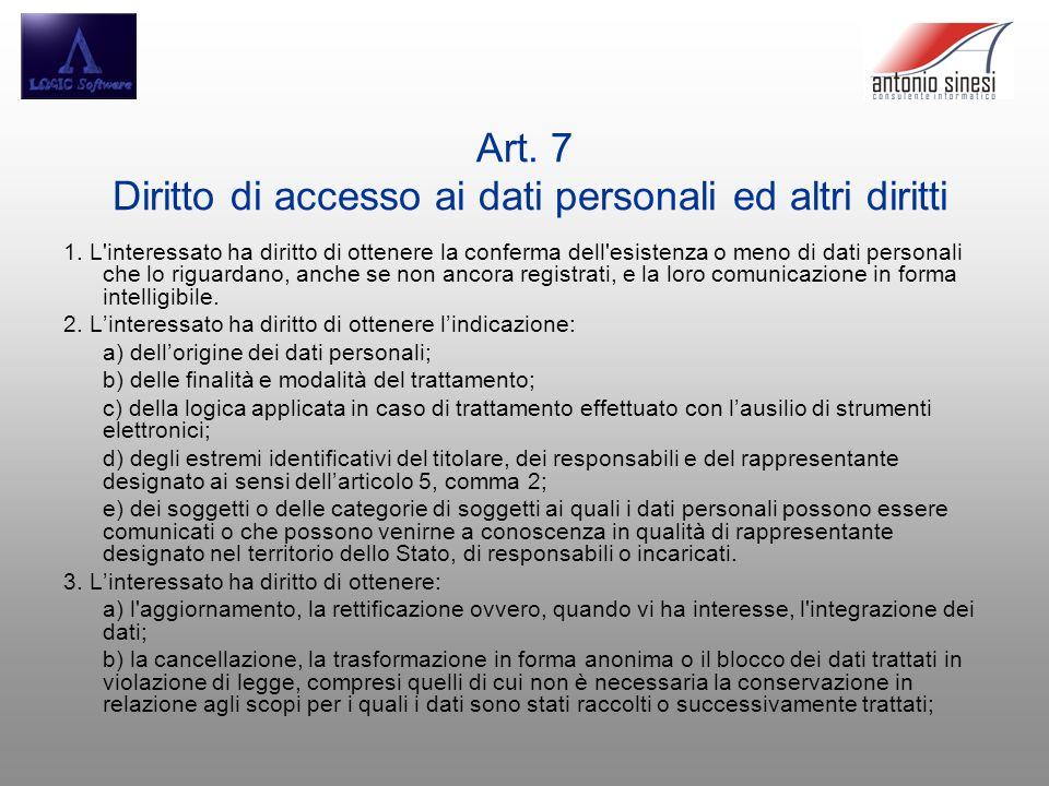 Art. 7 Diritto di accesso ai dati personali ed altri diritti 1. L'interessato ha diritto di ottenere la conferma dell'esistenza o meno di dati persona