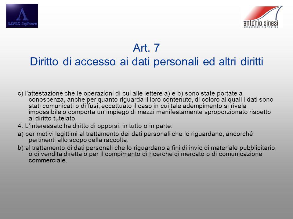Art. 7 Diritto di accesso ai dati personali ed altri diritti c) l'attestazione che le operazioni di cui alle lettere a) e b) sono state portate a cono